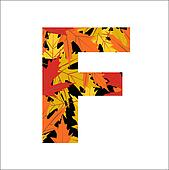 autumn leaves font, letter F