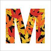 autumn leaves font, letter M