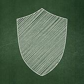 Security concept: Shield on chalkboard background