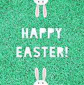 Happy Easter on green grass