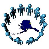 Circle of people around Alaska map flag