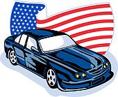 American muscle car stars stripes flag