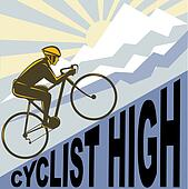 Cyclist racing bike up steep mountain and clouds sunburst