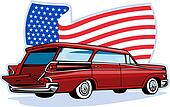 1950\'s styled station wagon flag