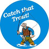 Fly fisherman fishing catching trout with fly rod reel a