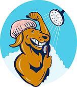 Cartoon dog singing shower scrubbing with brush