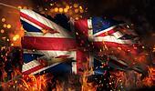 United Kingdom Burning Fire Flag War Conflict Night 3D