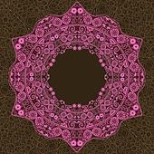 Pink Vintage Ornament Round Lace Frame