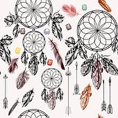 Vector background with hand drawn dream catcher in engraved style