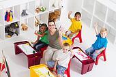 preschool teacher and kids