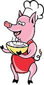 Cartoon Happy Pig chef cook baker