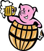 pig pork in barrel with beer mug