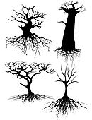 Four different Old tree Silhouettes