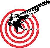 Hunter aiming rifle shotgun bulls eye