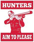 Hunter aiming a shotgun rifle front view