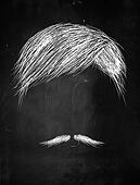 Hair and thin mustache sketch
