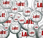Late Word Clocks Flying Tardy Overdue Alarm Behind Schedule