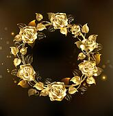 wreath of gold roses