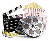 3D white people. Cinema clapper film reel drink and popcorn