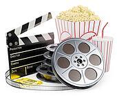 3D white people. Cinema clapper film reel drink and popcorn