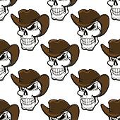 Skull in a stetson seamless pattern
