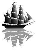 Black sailing ship