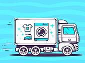 illustration of truck free and fast delivering washing ma