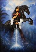 Woman with mighty black unicorn