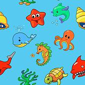 seamless pattern of cartoon sea creatures,