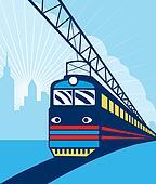 Electric passenger train traveling