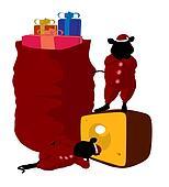 Christmas Mice Art Illustration