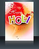 Indian festival Happy Holi brochure colorful template reflection design vector