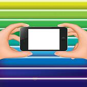 Hands Holding Phone And Colorful Background