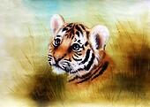 cute baby tiger cartoon Illustration,  looking out from a green grass surroundings