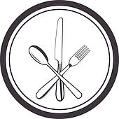 Crossed Fork And Spoon Clip Art - Royalty Free - GoGraph
