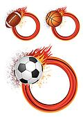sports equipment with flames