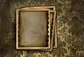 Vintage photo frame on floral background