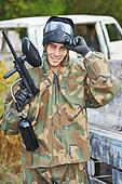 Portrait of Man paintball player