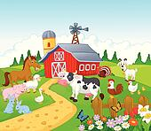 Cartoon Farm background with animal