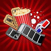 Illustration of  movie theme objects on red background