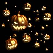 Halloween pumpkin floating