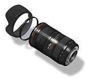 Zoom lens with hood and filter