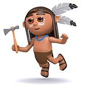 3d Native American Indian boy leaps through the air