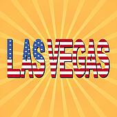 Las Vegas flag text with sunburst illustration