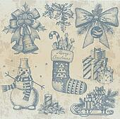 Christmas retro drawings by hand