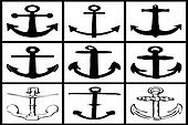 collection of anchors on white background