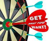 Get What You Want Words Dart Board Target Winner