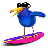 3d Blue bird surfing