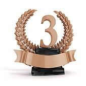 3d third plae bronze trophy and laurel
