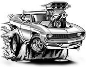 '69 Muscle Car Cartoon Burnout